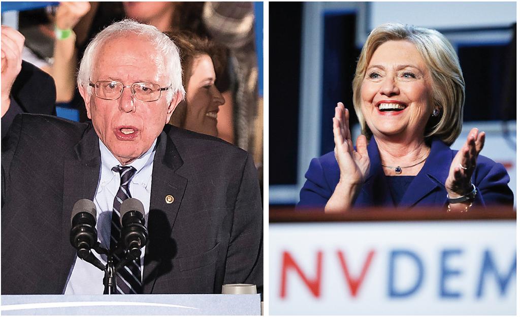 El senador independiente de Vermont, Bernie Sanders, después de su victoria en las primarias demócratas en New Hampshire, el martes 9. Hillary Clinton (der.), aplaude mientras habla a una multitud en Las Vegas, Nevada, cuyas primarias demócratas se realizan el sábado 20. Foto:AP
