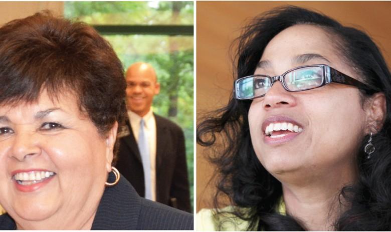Ana Sol Gutiérrez (izq.) y Joseline Peña-Melnyk se muestran orgullosas del trabajo realizado durante las respectivas campañas por dos asientos en el Congreso federal.                  Fotos: Álvaro Ortiz / Washington Hispanic