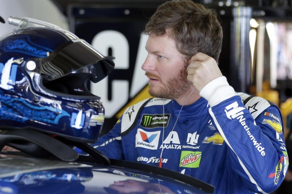 Dale Earnhardt Jr. prepares to get in his car during a NASCAR auto racing practice session at Daytona International Speedway, Friday, Feb. 24, 2017, in Daytona Beach, Fla. (AP Photo/John Raoux) ORG XMIT: DBR202