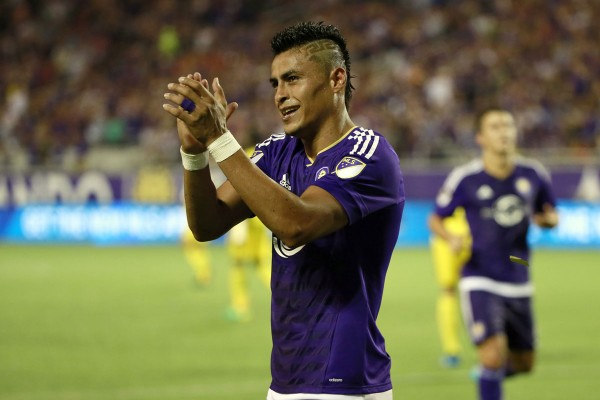 Aug 1, 2015; Orlando, FL, USA; Orlando City SC midfielder Darwin Ceren (17) celebrates as they scored a goal against the Columbus Crew during the second half at Orlando Citrus Bowl Stadium. Orlando City SC defeated the Columbus Crew 5-2. Mandatory Credit: Kim Klement-USA TODAY Sports