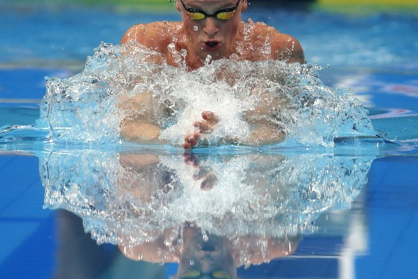 Britain's gold medal winner Adam Peaty competes in the men's 100-meter breaststroke final during the swimming competitions of the World Aquatics Championships in Budapest, Hungary, Monday, July 24, 2017. (AP Photo/Darko Bandic)
