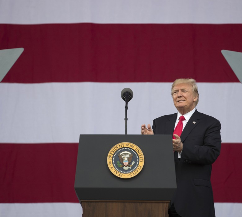 President Donald Trump arrives tp speak at the 2017 National Scout Jamboree in Glen Jean, W.Va., Monday, July 24, 2017. (AP Photo/Carolyn Kaster)