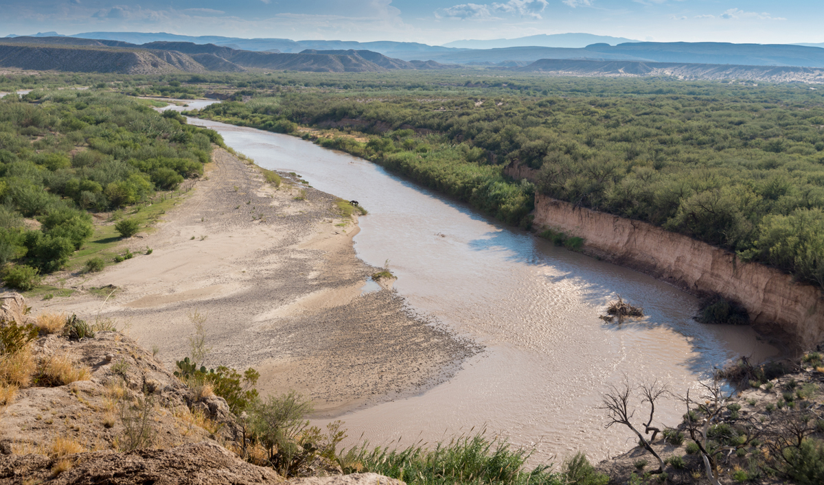Rio Grande River marking the border between Texas (left) and Mexico (right)