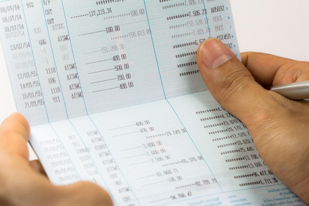 Close up of saving account passbook