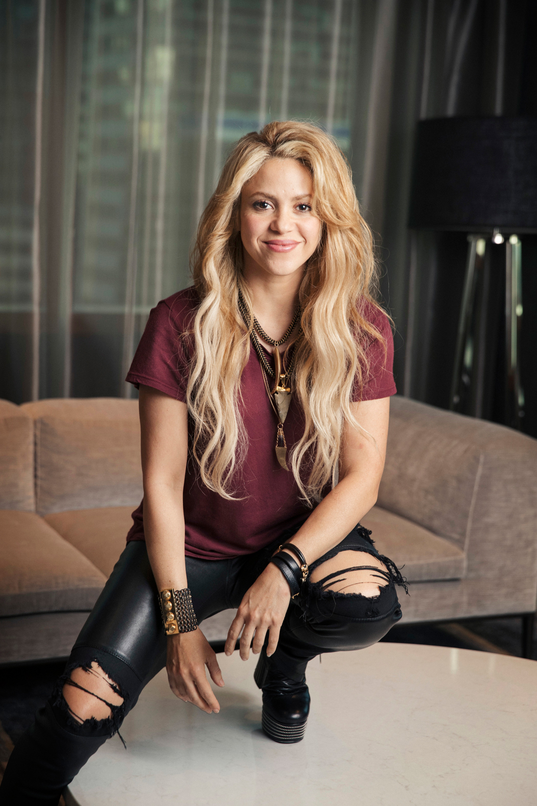 """FILE - In this May 16, 2017 photo, Colombian performer Shakira poses for a portrait in New York to promote her 11th album """"El Dorado"""". Shakira leads nominations to Latin American Music Awards with 9 nods, followed by Maluma with 8. ÒDespacitoÕÓs hit-makers Luis Fonsi and Daddy Yankee got 5 noms each.  (Photo by Victoria WIll/Invision/AP)"""