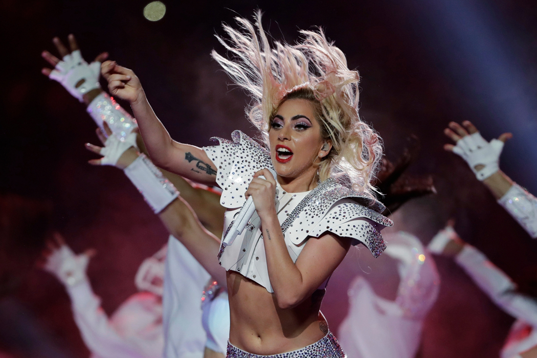 FILE - In this Feb. 5, 2017, file photo, Lady Gaga performs during the halftime show of the NFL Super Bowl 51 football game between the New England Patriots and the Atlanta Falcons in Houston. Lady Gaga has postponed her world tour's European leg until next year because of ongoing health problems.  The six-week part of the Joanne World Tour was set to kick off in Barcelona on Sept. 21. (AP Photo/Matt Slocum, File)