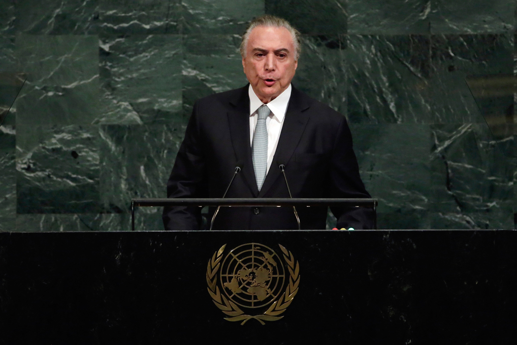 President Michel Temer of Brazil addresses the 72nd session of the United Nations General Assembly, at U.N. headquarters, Tuesday, Sept. 19, 2017. (AP Photo/Richard Drew)