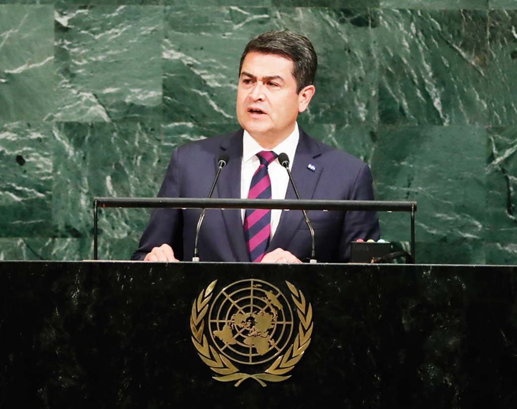 Honduran President Juan Orlando Hernandez addresses the United Nations General Assembly Tuesday, Sept. 19, 2017, at the United Nations headquarters. (AP Photo/Frank Franklin II)