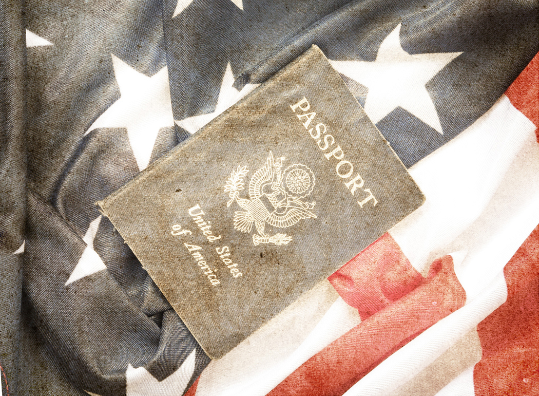 USA passport on The US flag background, grunge style