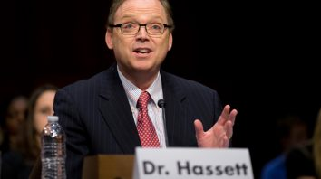 FILE - In this Dec. 6, 2012, file photo, Kevin Hassett, senior fellow and director of Economic Policy at the American Enterprise Institute (AEI), gestures as he testifies on Capitol Hill in Washington before the Joint Economic Committee hearing entitled:
