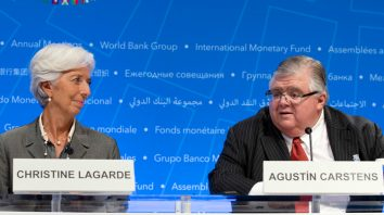 International Monetary Fund (IMF) Managing Director Christine Lagarde and International Monetary Financial Committee (IMFC) Chair and Governor of the Bank of Mexico Agustin Carstens speak during a news conference after the International Monetary and Financial Committee (IMFC) meeting at the World Bank/IMF Annual Meetings in Washington, Saturday, Oct. 14, 2017. ( AP Photo/Jose Luis Magana)