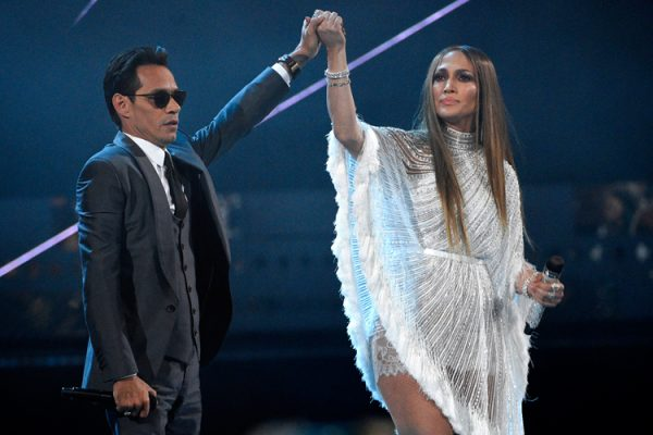 FILE - This Nov. 17, 2016 file photo shows Marc Anthony, left, and Jennifer Lopez perform