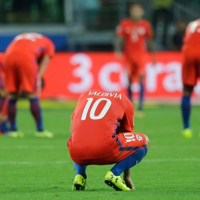 Chile players react after Brazil score against them during a World Cup qualifying soccer match in Sao Paulo, Brazil, Tuesday, Oct. 10, 2017. (AP Photo/Nelson Antoine)