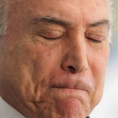 Brazil's President Michel Temer attends a ceremony at the Planalto Presidential Palace, in Brasilia, Brazil, Tuesday, Oct. 17, 2017.  (AP Photo/Eraldo Peres)
