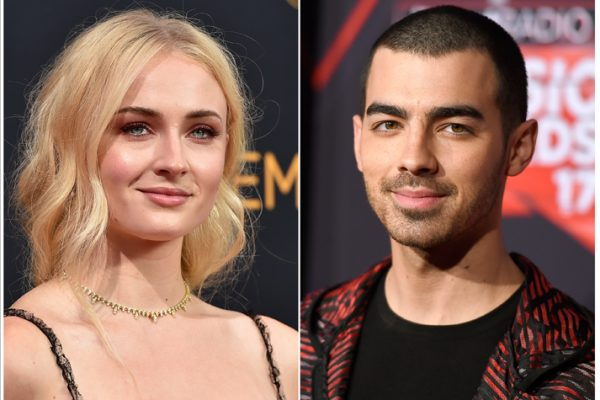 This combination photo shows Sophie Turner at the 68th Primetime Emmy Awards in Los Angeles on Sept. 18, 2016, left, and musician Joe Jonas at the iHeartRadio Music Awards in Inglewood, Calif., on March 5, 2017. Turner and Jonas are engaged. They shared the same photo on Instagram Sunday, Oct. 15, 2017, of her hand sporting a diamond ring and resting on top of his. Turner noted in her caption: ÒI said yes.Ó (Photo by Jordan Strauss/Invision/AP, File)