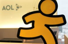 FILE - In this Jan. 12, 2010, file photo, an AOL logo is seen in the company's office in Hamburg, Germany. AOL announced on Oct. 6, 2017, that it will discontinue its once-popular Instant Messenger platform on Dec. 15(AP Photo/Axel Heimken, File)