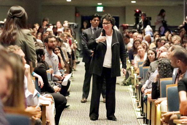 U.S. Supreme Court Justice Sonia Sotomayor, center, answers questions from the audience during a speech at the University of California at Berkeley on Thursday, March 9, 2017, in Berkeley, Calif. (AP Photo/Ben Margot)