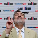 In this Oct. 26, 2017 photo, Presidential candidate for Nueva Mayoria coalition Alejandro Guillier reacts during a press conference with the press in Santiago, Chile. The 64-year-old journalist and sociologist aims to replace socialist president Michelle Bachelet and promises to deepen the structural reforms. (AP Photo/Esteban Felix)