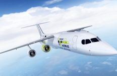 The artist rendering provided by Airbus on Tuesday, Nov. 28, 2017 shows an Airbus e-FanX hybrid test plane. The aircraft will be flying with one electric turbofan motor and 3 conventional engines. The electric power for the electric engine is being produced by a turbine within the plane that serves as a generator. (Airbus via AP)