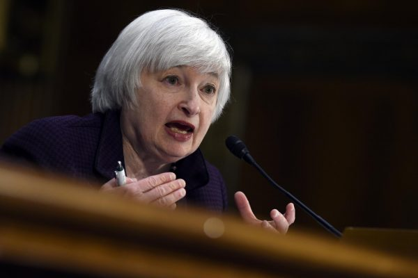 FILE - In this Feb. 24, 2015 file photo, Federal Reserve Board Chair Janet Yellen testifies on Capitol Hill in Washington. The Federal Reserve issues a policy statement when its two-day meeting ends at 2 p.m. on Wednesday, April 29, 2015. (AP Photo/Susan Walsh, File)