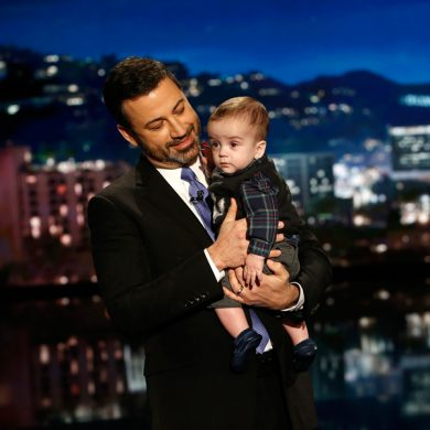 This Dec. 11, 2017 image released by ABC shows host Jimmy Kimmel with his son Billy on
