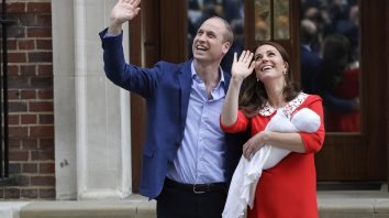 Britain's Prince William and Kate, Duchess of Cambridge wave holding their newborn baby son as they leave the Lindo wing at St Mary's Hospital in London London, Monday, April 23, 2018. The Duchess of Cambridge gave birth Monday to a healthy baby boy — a third child for Kate and Prince William and fifth in line to the British throne. (AP Photo/Kirsty Wigglesworth)