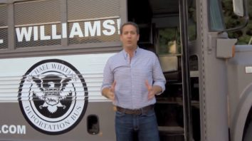In this frame from video provided by the Michael Williams for Governor campaign, Williams shows off his