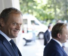 European Council President Donald Tusk, left, arrives for a meeting of the EPP at a hotel in Sofia, Bulgaria, Wednesday, May 16, 2018. Heads of State of the EU and Western Balkan countries will attend a dinner on Wednesday and meet for a summit at Sofia's National Palace of Culture on Thursday. (AP Photo/Darko Vojinovic)