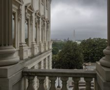 Cloudy skies continue to bring rain to the Washington area as seen from the U.S. Capitol looking west, Friday, May 18, 2018. (AP Photo/J. Scott Applewhite)