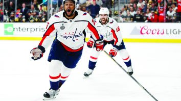 Washington Capitals right wing Devante Smith-Pelly, left, celebrates his goal, in front of center Chandler Stephenson during the third period in Game 5 of the NHL hockey Stanley Cup Finals against the Vegas Golden Knights on Thursday, June 7, 2018, in Las Vegas. (AP Photo/John Locher)