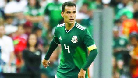 Mexico's Rafael Marquez controls the ball during a friendly soccer match against Scotland at Azteca Stadium in Mexico City, Saturday, June 2, 2018. (AP Photo/Eduardo Verdugo)