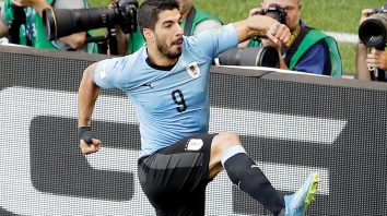 Uruguay's Luis Suarez celebrates after scoring the opening goal during the group A match between Uruguay and Saudi Arabia at the 2018 soccer World Cup in Rostov Arena in Rostov-on-Don, Russia, Wednesday, June 20, 2018. (AP Photo/Themba Hadebe)