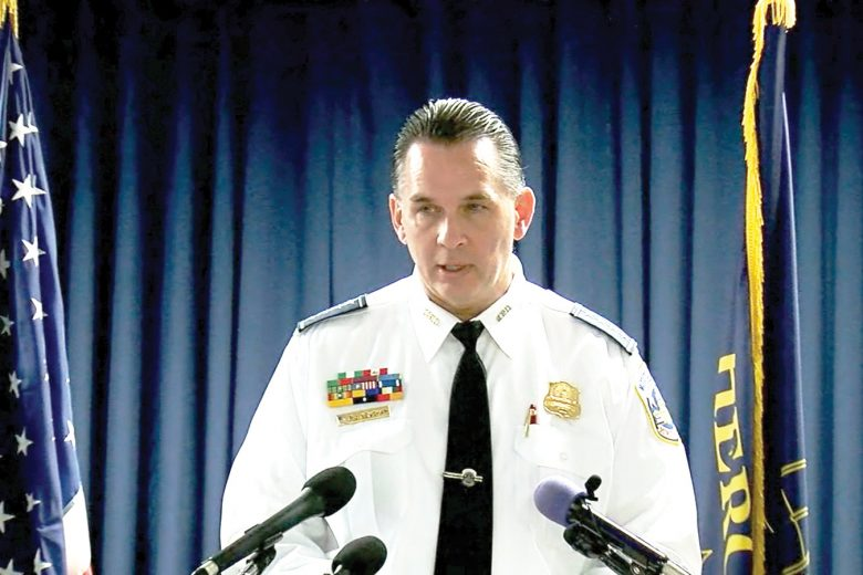 Interim Washington D.C. police chief Peter Newsham during a press conference dealing with the missing yoga teacher,  Tricia Lynn, who was found dead in her vehicle. They have a suspect in custody.
