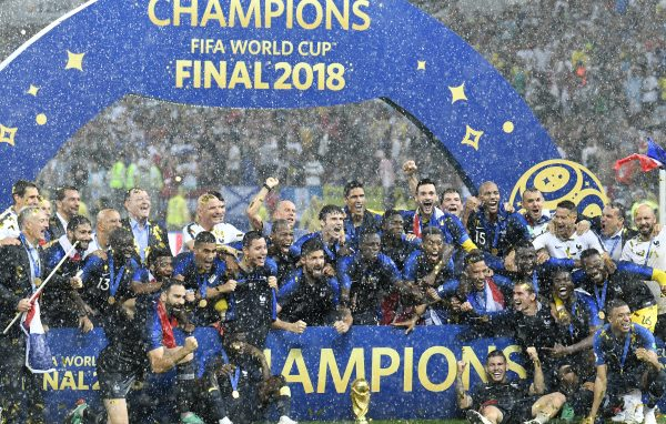 French players celebrate after winning 4-2 in the final match between France and Croatia at the 2018 soccer World Cup in the Luzhniki Stadium in Moscow, Russia, Saturday, July 14, 2018. (AP Photo/Martin Meissner)