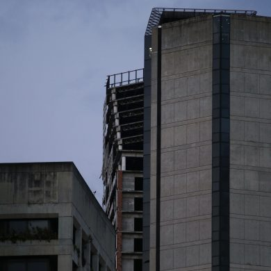 An abandoned, unfinished skyscraper known as