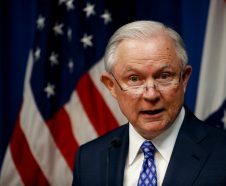 Attorney General Jeff Sessions talks about efforts to combat violent crime during a stop at the U.S. Attorney's Office Thursday, Sept. 13, 2018, in Kansas City, Mo.(AP Photo/Charlie Riedel)