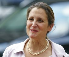 Canadian Foreign Affairs Minister Chrystia Freeland arrives at the Office Of The United States Trade Representative in Washington, Thursday, Sept. 20, 2018. (AP Photo/Carolyn Kaster)