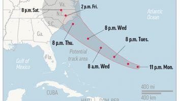Map shows probable path of Hurricane Florence. ; 1c x 3 inches; 46.5 mm x 76 mm;