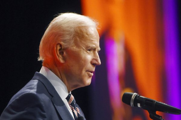 Former Vice President Joe Biden speaks as part of The Economic Club of Southwestern Michigan Speakers Series Tuesday, Oct. 16, 2018, at Lake Michigan College's Grand Upton Hall in Benton Harbor, Mich. (Don Campbell/The Herald-Palladium via AP)