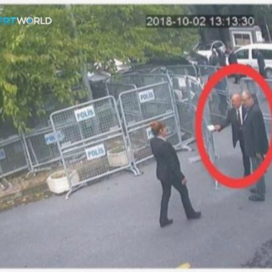 This image taken from CCTV video obtained by the Turkish broadcaster TRT World and made available on Sunday, Oct. 21, 2018, purportedly showing Saudi journalist Jamal Khashoggi, being allowed to pass barriers that block the road leading to the Saudi consulate, in Istanbul, before entering, Tuesday, Oct. 2, 2018. (CCTV/TRT World via AP)