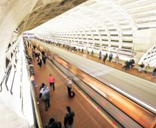 A Metro train departs the Gallery Place-Chinatown Metro station Tuesday, March 15, 2016 in Washington. The rail system that serves the nationís capital and its Virginia and Maryland suburbs will shut down for a full day Wednesday after a fire near one of the systemís tunnels, the systemís head announced. (AP Photo/Alex Brandon)