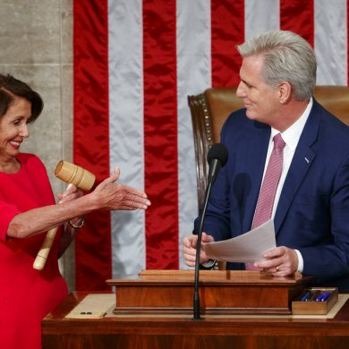 Newly elected House Speaker Nancy Pelosi of California, who will lead the 116th Congress, holds out her hand to Rep. Kevin McCarthy, R-Calif., after he gave her the gavel at the U.S. Capitol in Washington, Thursday, Jan. 3, 2019. (AP Photo/Carolyn Kaster)
