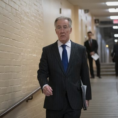 House Ways and Means Committee Chairman Richard Neal, D-Mass., arrives for a Democratic Caucus meeting at the Capitol in Washington, on April 2, 2019. Rep. Neal, whose committee has jurisdiction over all tax issues, has formally requested President Donald Trump's tax returns from the Internal Revenue Service for the past 6 years. (AP Photo/J. Scott Applewhite)