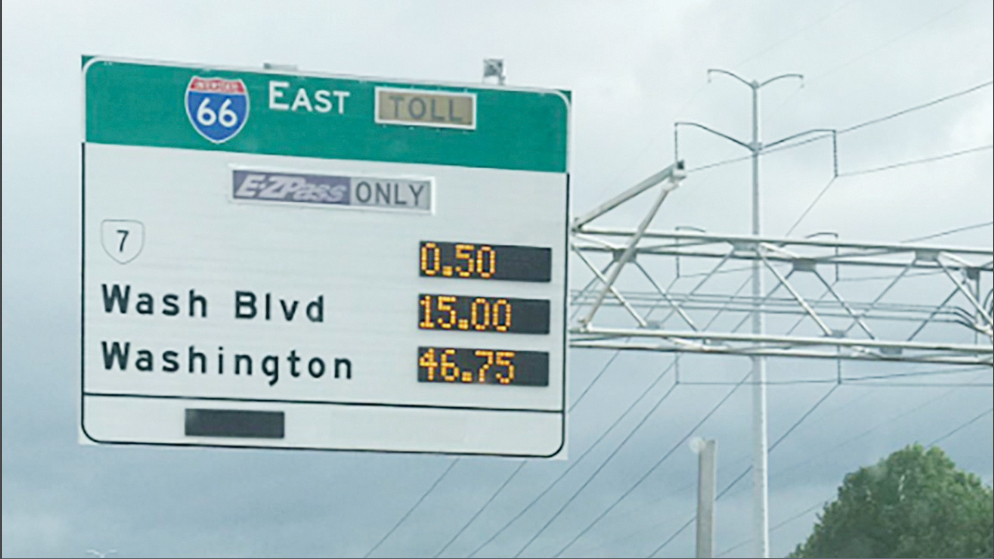 Peaje en autopista de Virginia casi en los 50 dólares