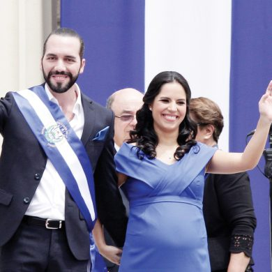 El Salvador's newly sworn-in President Nayib Bukele and his wife Gabriela wave during inaugural activities in Plaza Barrios in San Salvador, El Salvador, Saturday, June 1, 2019. (AP Photo/Salvador Melendez)
