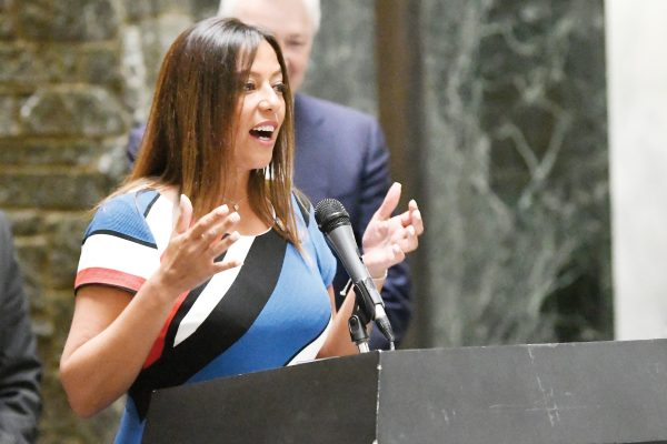 Sen. Monica R. Martinez, D-Hauppauge, speaks to New York state legislators and animal group advocates in the Legislative office Building as part of Animal Advocacy Day at the state Capitol Tuesday, June 4, 2019, in Albany, N.Y. (AP Photo/Hans Pennink)