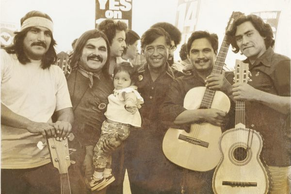 Singing 2_Chunky with Cesar Chavez, ca 1972