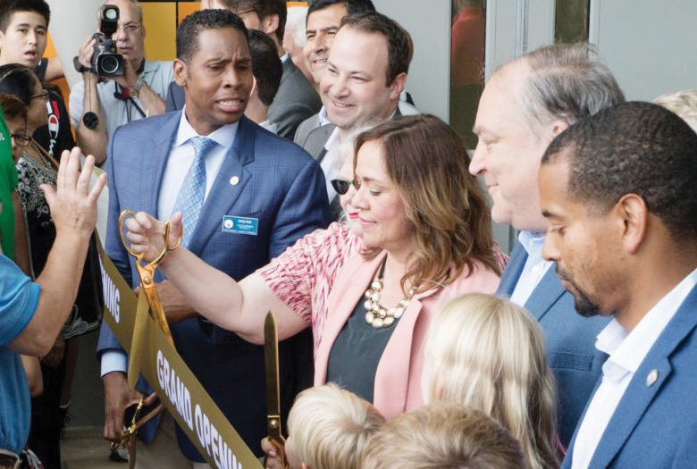September 8, 2019 - County Council President Nancy Navarro cuts the ribbon to open the new Wheaton Library and Community Recreation Center and Wheaton Local Park. Photo by Mike Clark/The Montgomery Sentinel
