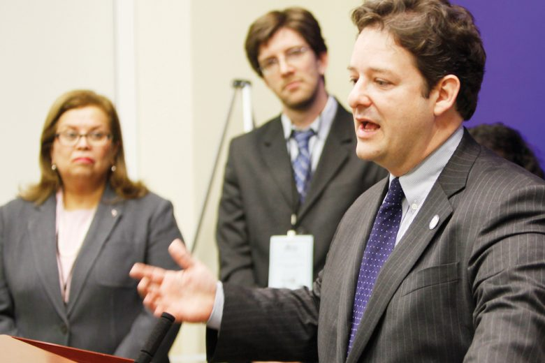 Del. Alfonso Lopez, D-Arlington speaks during a press conference on the 2012 legislative agenda of the Virginia Coalition of Lation Organizations at the Capitol in Richmond, Va., Tuesday, Jan. 17, 2012. (AP Photo/Steve Helber)