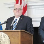 Maryland Gov. Larry Hogan announces $125 million in funding to improve school safety with capital improvements throughout the state during a news conference in Annapolis, Md., Wednesday, Feb. 28, 2018. State Superintendent of Schools Karen Salmon is standing left, and V. Glenn Fueston, the executive director of the Governor's Office of Crime Control and Prevention is standing right. (AP Photo/Brian Witte)